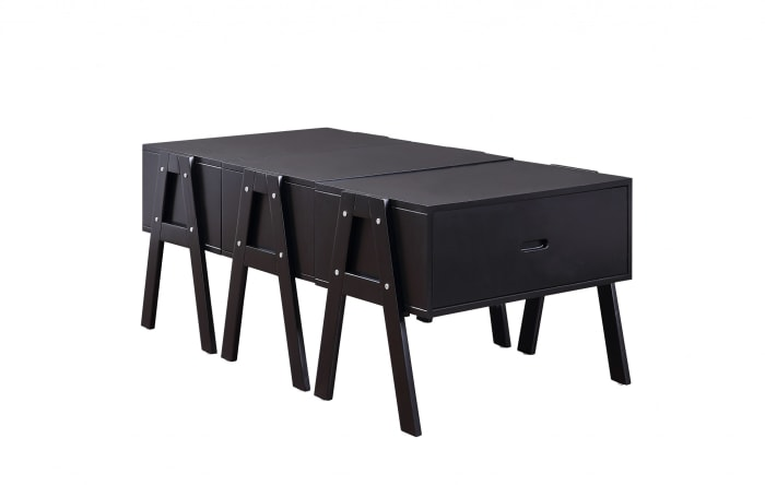 Convertible Black Sleek Rectangular Coffee Table