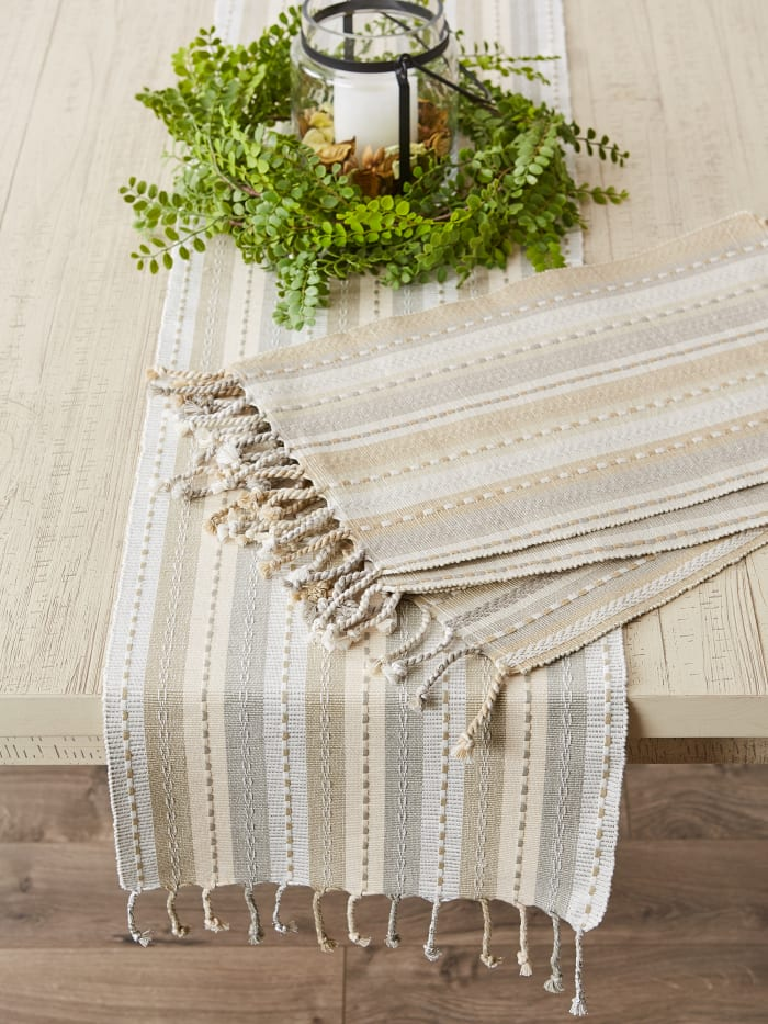 Natural Tonal Stripe With Fringe Set of 6 Placemat