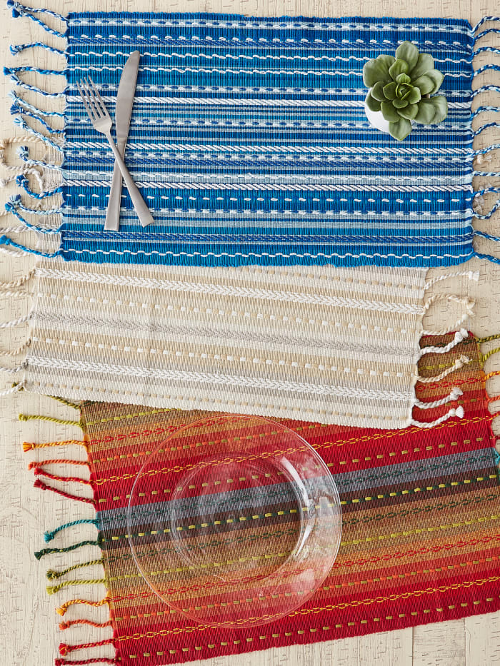 Spice Tonal Stripe With Fringe Set of 6 Placemats