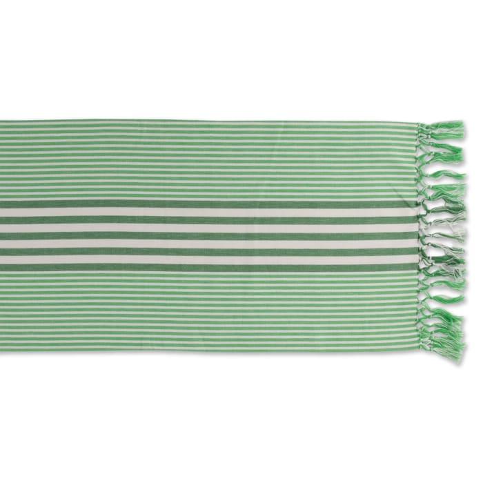 Grass Green Stripes Table Runner