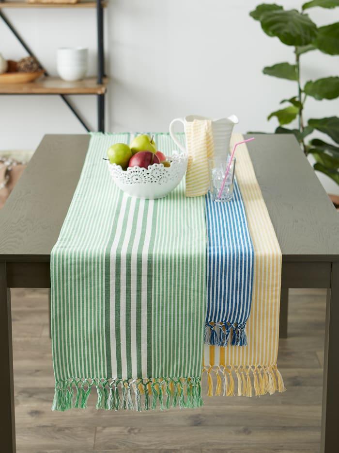 Deep Blue Stripes Table Runner
