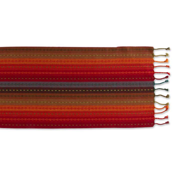 Spice Tonal Stripe With Fringe Table Runner