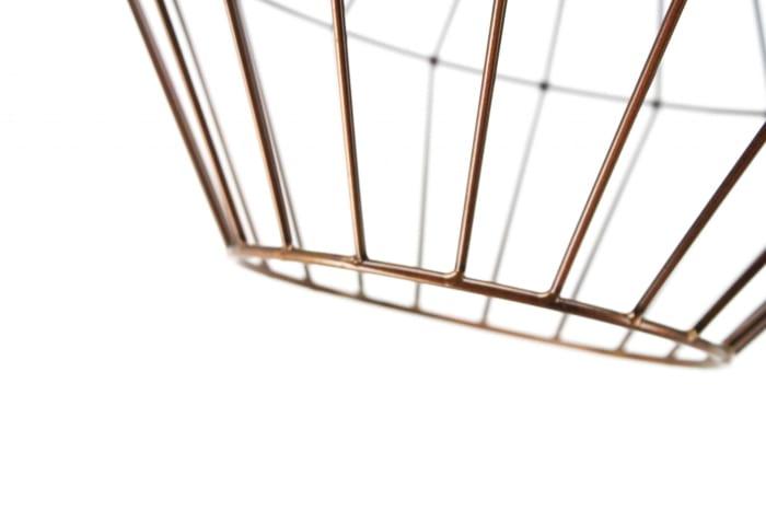 Antique Copper and Matte Black Wire Floor Lamp