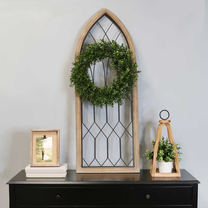 Cathedral-Style Wood and Metal Window Panel Wall Decor