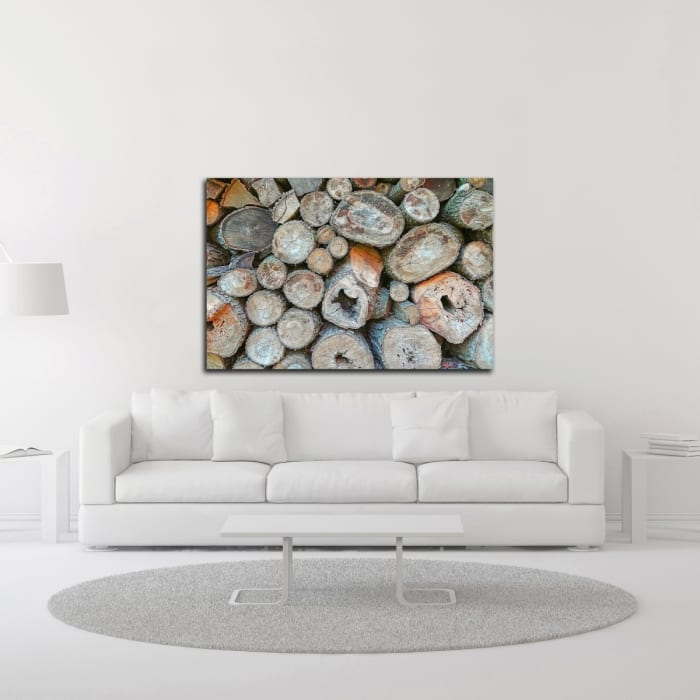 Woodpile by Brooke T. Ryan Wrapped Canvas Wall Art