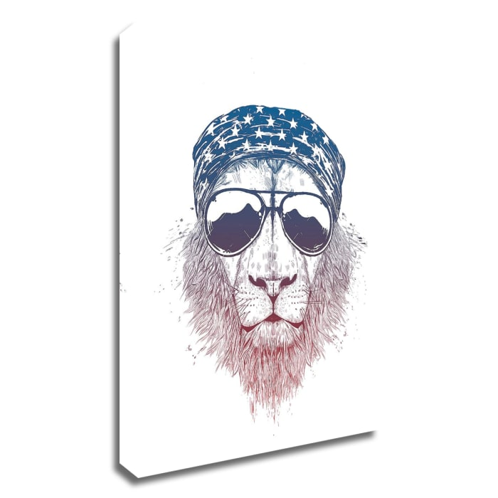 Wild Lion by Balazs Solti Wrapped Canvas Wall Art