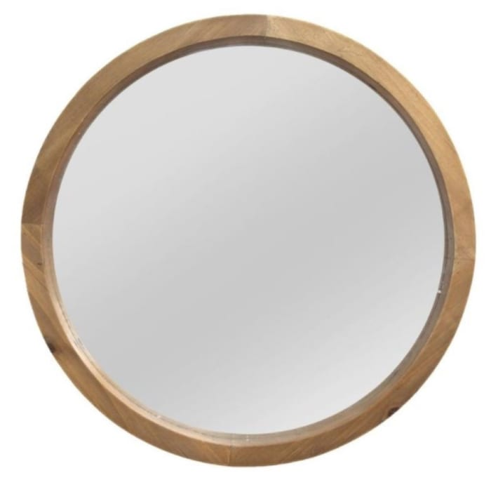 Chic Round Wood Framed Wall Mirror