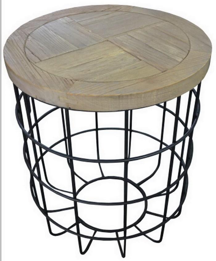Syracuse Metal Base Wood Top Side Table