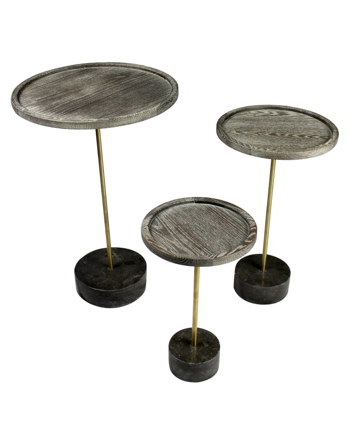 Aliso Tipton With Oak Top and Steel and Marble Base End Table