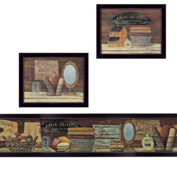 COUNTRY BATH II 3-Piece Vignette by Pam Britten Framed Wall Art