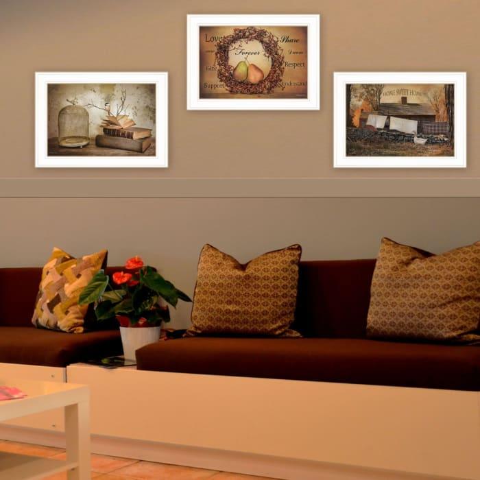 Primitives Homestead 3-Piece Vignette by Robin Lee Vieira Framed Wall Art