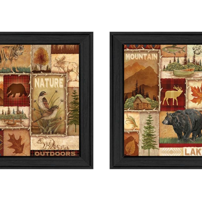 Lodge Collage Collection By Ed Wargo Framed Wall Art