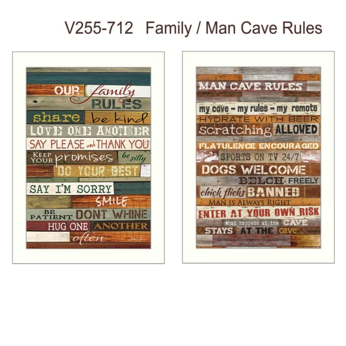 Family and Man Cave Rules Collection By Marla Rae Framed Wall Art