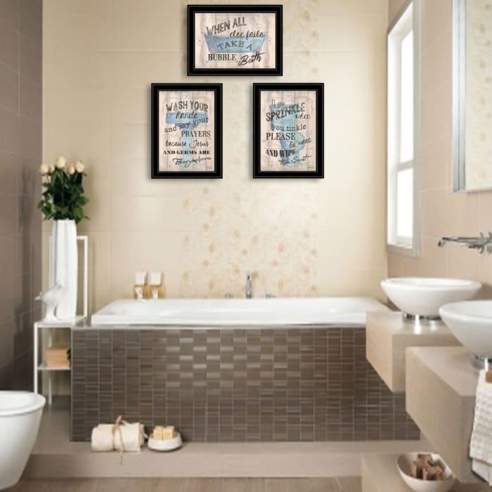 Bathroom Humor 3-Piece Vignette By Debbie DeWitt Framed Wall Art