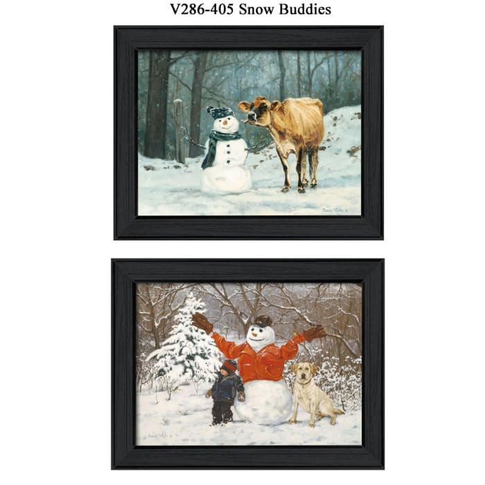 Snow Buddies Collection By Bonnie Mohr Framed Wall Art