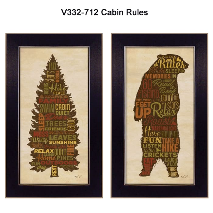Cabin Rules Collection By Lauren Rader Framed Wall Art
