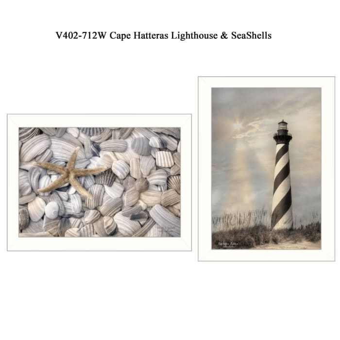 Cape Hatteras Lighthouse and Sea Shells Collection By Lori Deiter Framed Wall Art