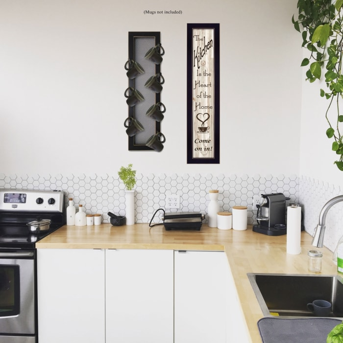 Come On In 2-Piece Vignette with 7-Peg Mug Rack by Millwork Engineering Framed Wall Art