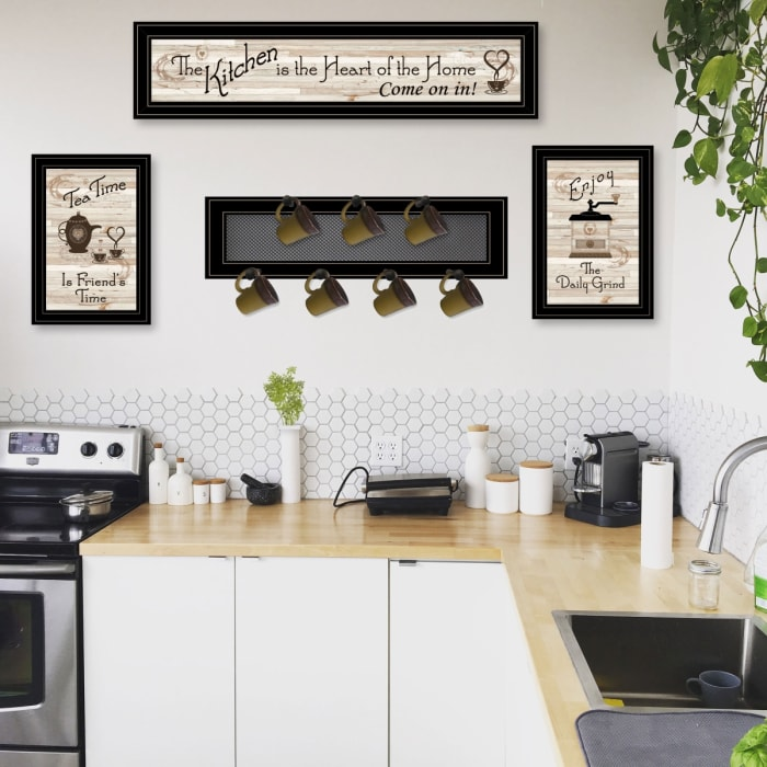 Kitchen Collection IV 4-Piece Vignette with 1-(7Pegs) Mug Rack Framed Wall Art