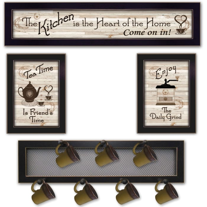 Kitchen Collection IV 4-Piece Vignette with 7-Peg Mug Rack by Millwork Engineering Framed Wall Art
