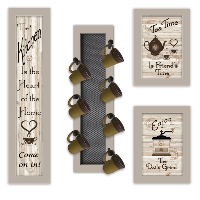 Kitchen Collection V 4-Piece Vignette with 7-Peg Mug Rack by Millwork Engineering Framed Wall Art