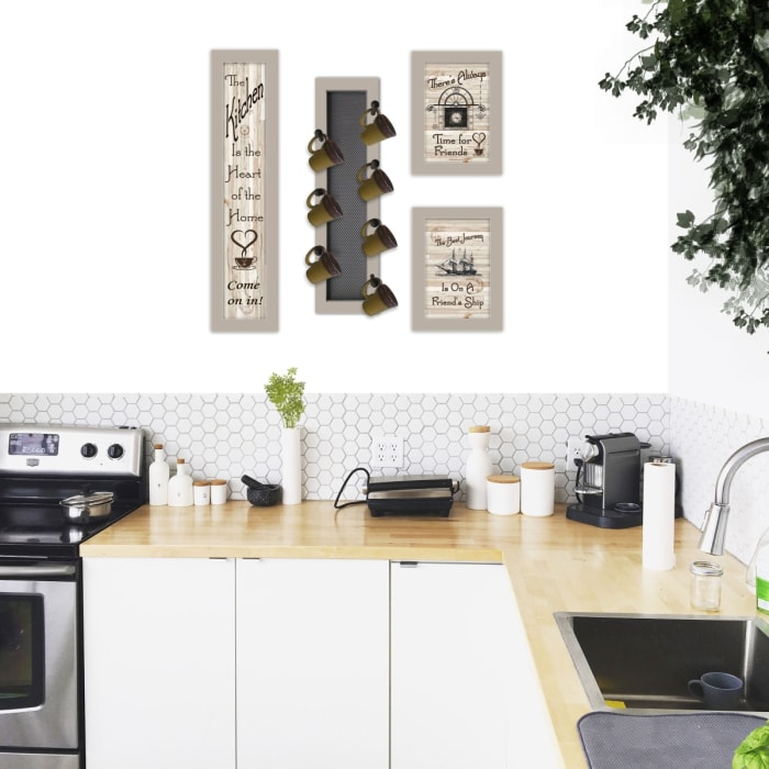 Kitchen Collection VII 4-Piece Vignette with 7-Peg Mug Rack by Millwork Engineering Framed Wall Art