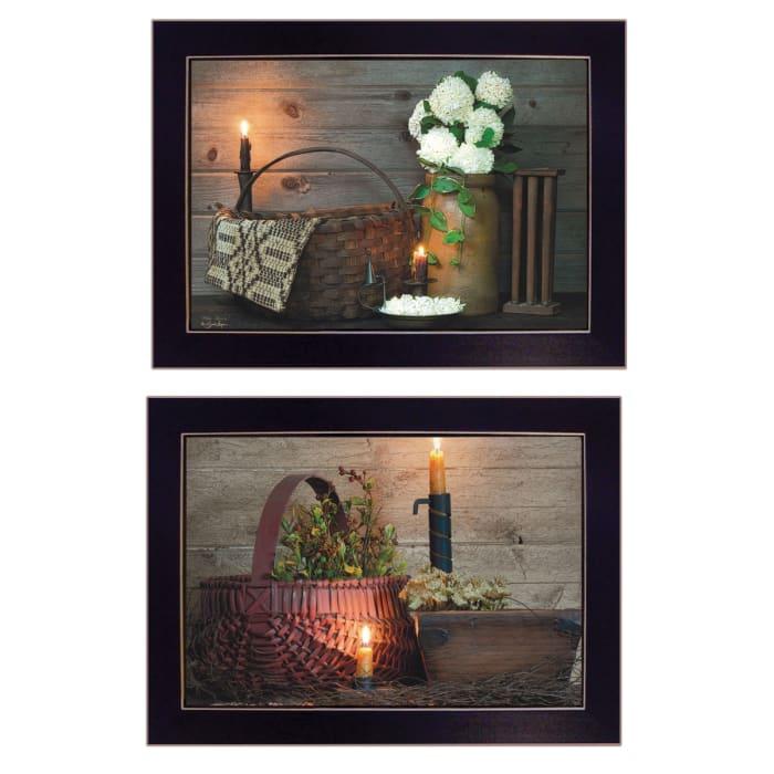 White/Red baskets 2-Piece Vignette by Susie Boyer Framed Wall Art