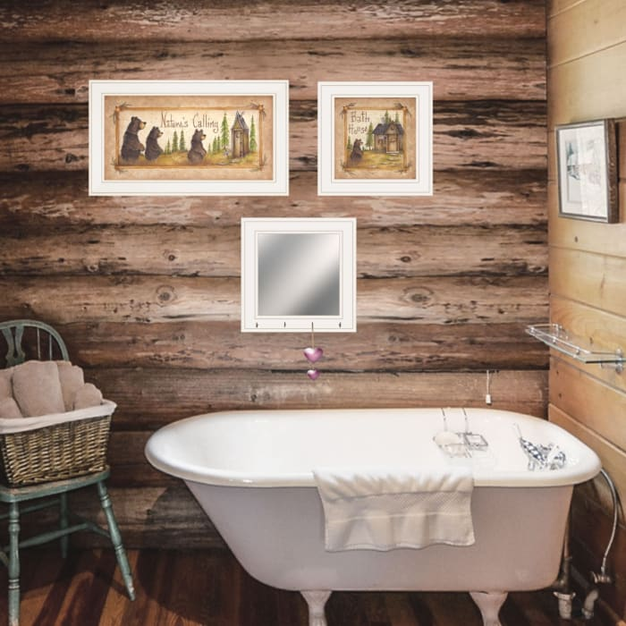 Nature Bath By Mary Ann June Ready to Hang Framed Print White Frame