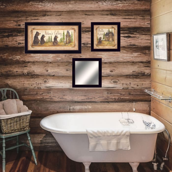 Nature Bath By Mary Ann June Ready to Hang Framed Print Black Frame