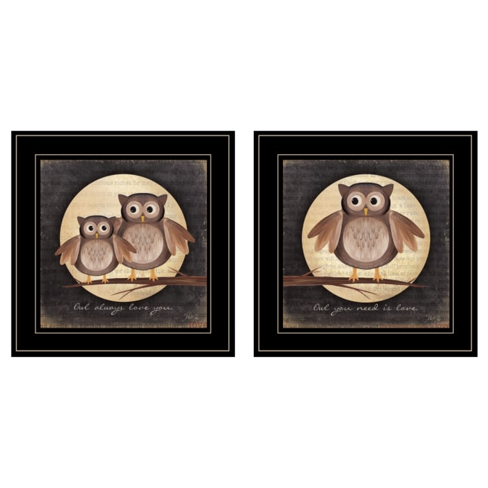 Owl Always Love & Need You 2 Piece Vignette by Marla Rae Black Frame