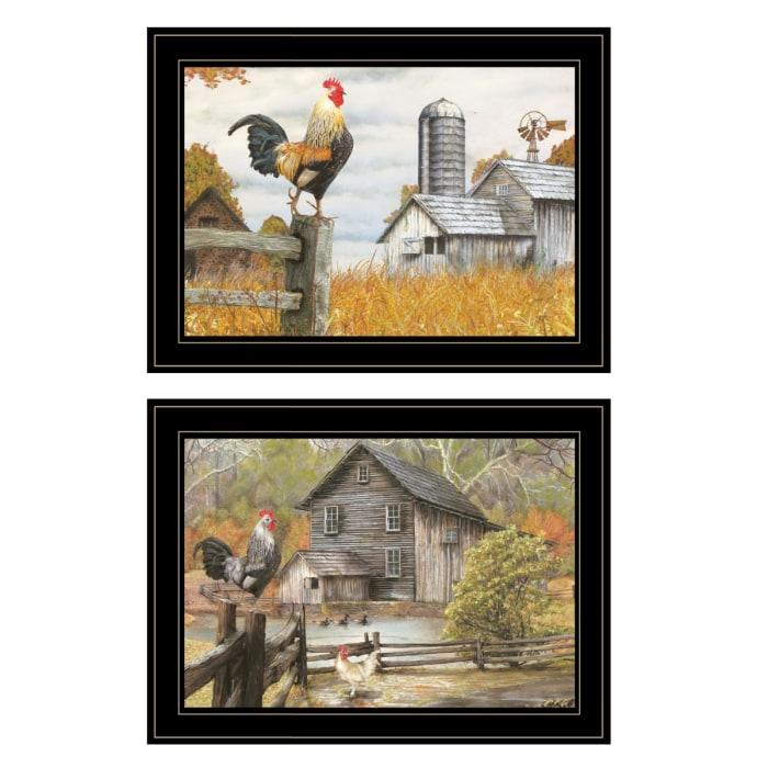 Down on the Farm 2 Piece Vignette by Ed Wargo Black Frame