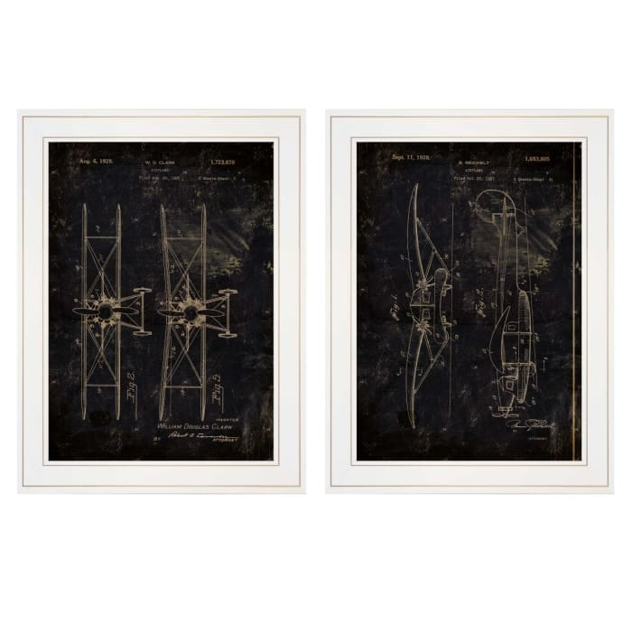 Airplane Patent I & II 2 Piece Vignette by Cloverfield & Co White Frame