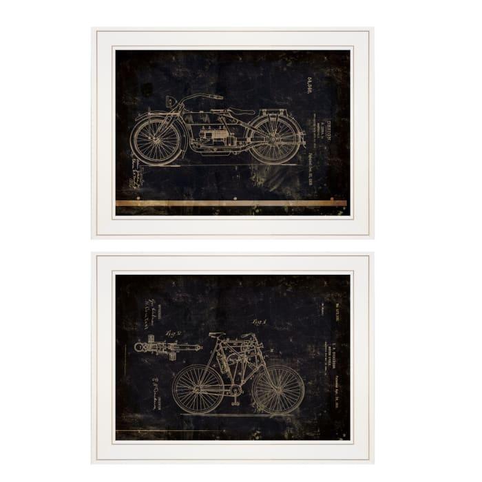 Motor Bike Patent I & II 2 Piece Vignette by Cloverfield & Co. White Frame