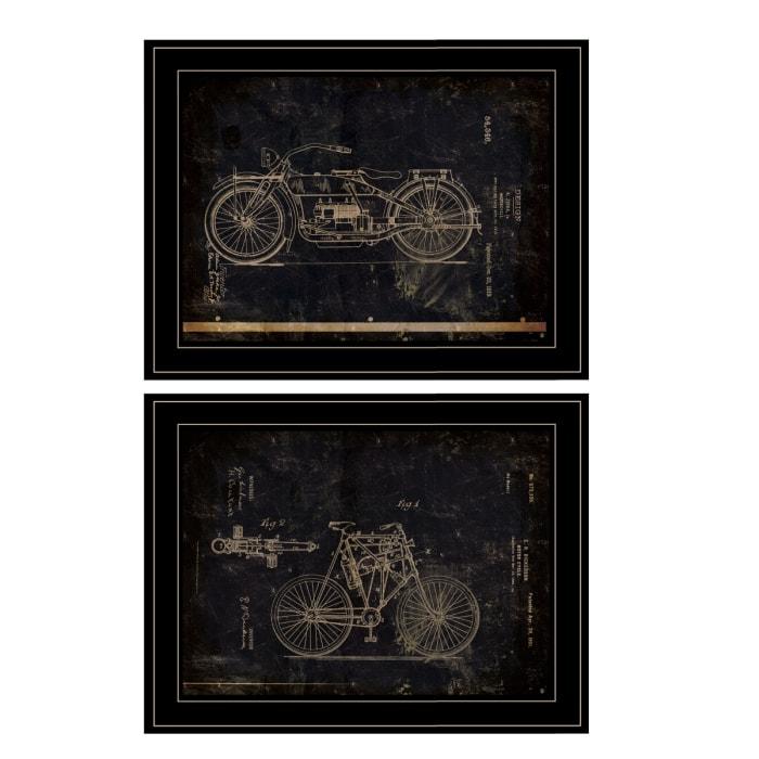 Motor Bike Patent I & II 2 Piece Vignette by Cloverfield & Co Black Frame