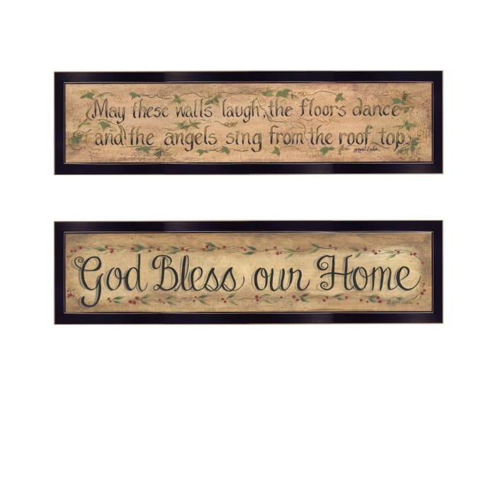 Blessed Home 2 Piece Vignette by Gail Eads Black Frame