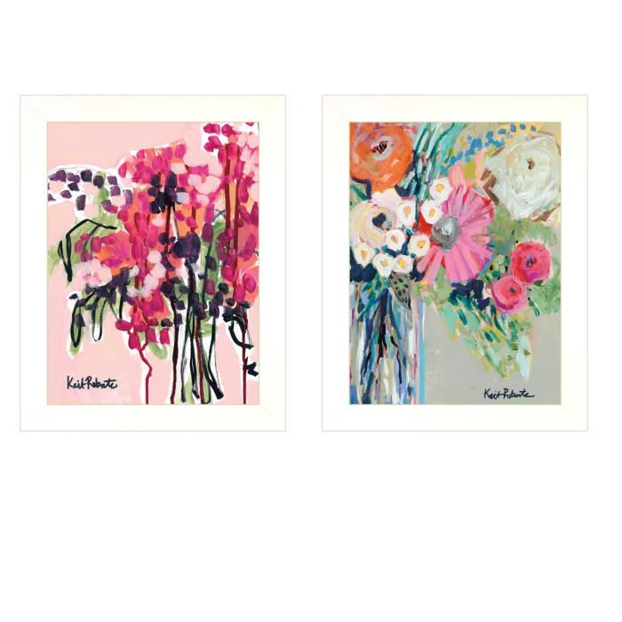 Garden Flowers 2 Piece Vignette by Kait Roberts White Frame