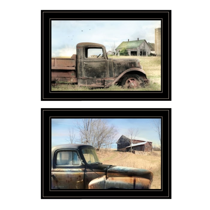 Vintage Farm Trucks 2-Piece Vignette by Lori Deiter Framed Wall Art
