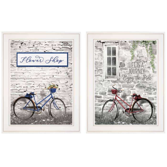 Romantic Bicycles 2-Piece Vignette by Lori Deiter Framed Wall Art