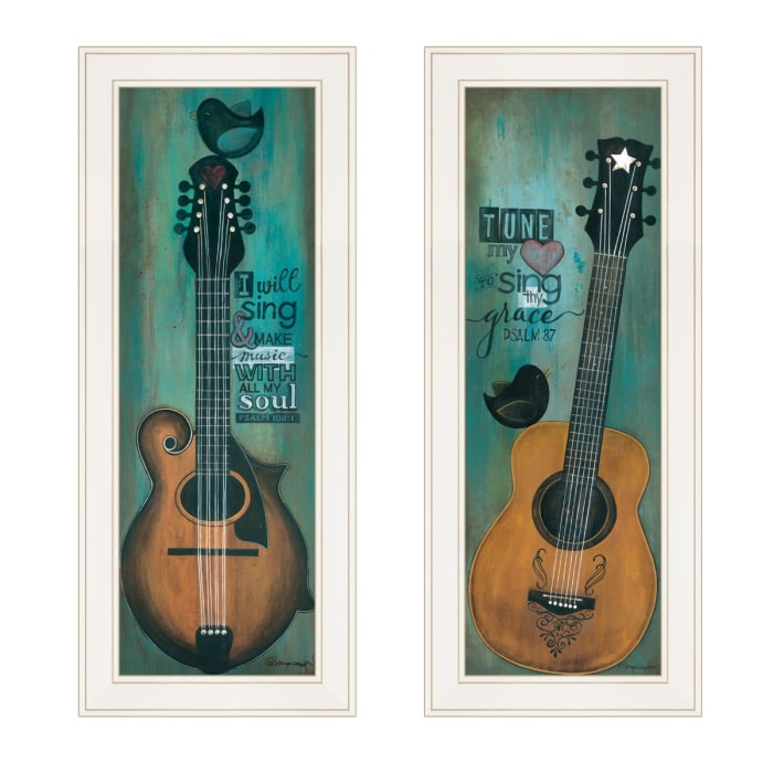 Tune my Heart and I will Sing 2-Piece Vignette by Tonya Crawford Framed Wall Art