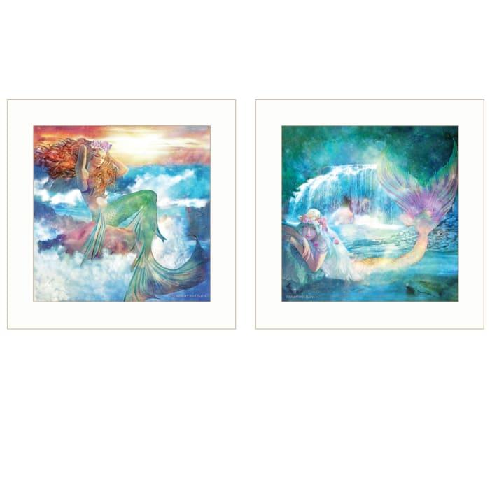 Mermaids 2-Piece Vignette by Bluebird Barn Framed Wall Art