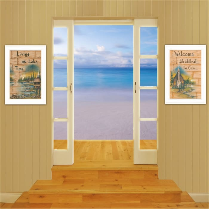 Living on the Lake 2-Piece Vignette by Mary June Framed Wall Art