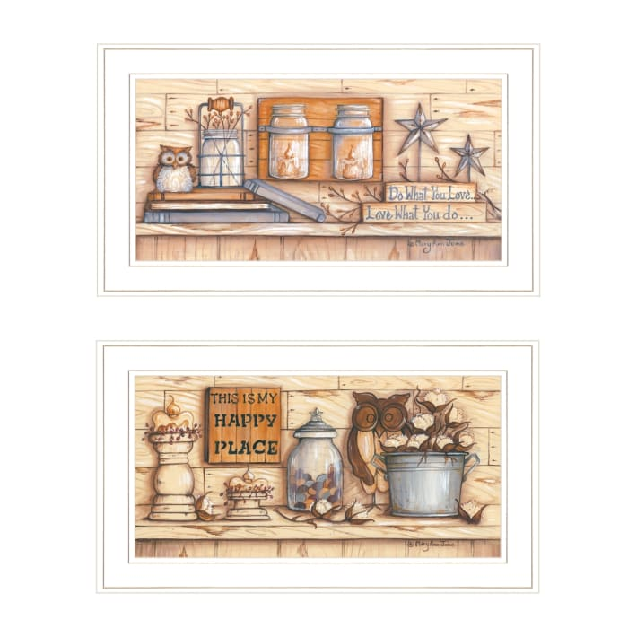 My Happy Place 2-Piece Vignette by Mary June Framed Wall Art