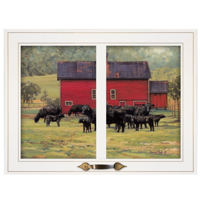 By the Red Barn (Herd of Angus) by Bonnie Mohr Framed Wall Art