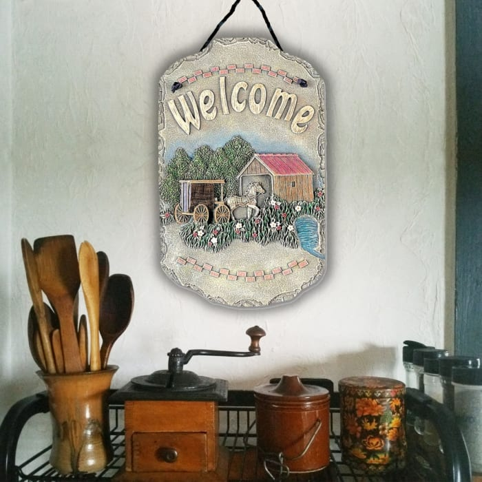 Welcome Sign Buggy Wall Decor
