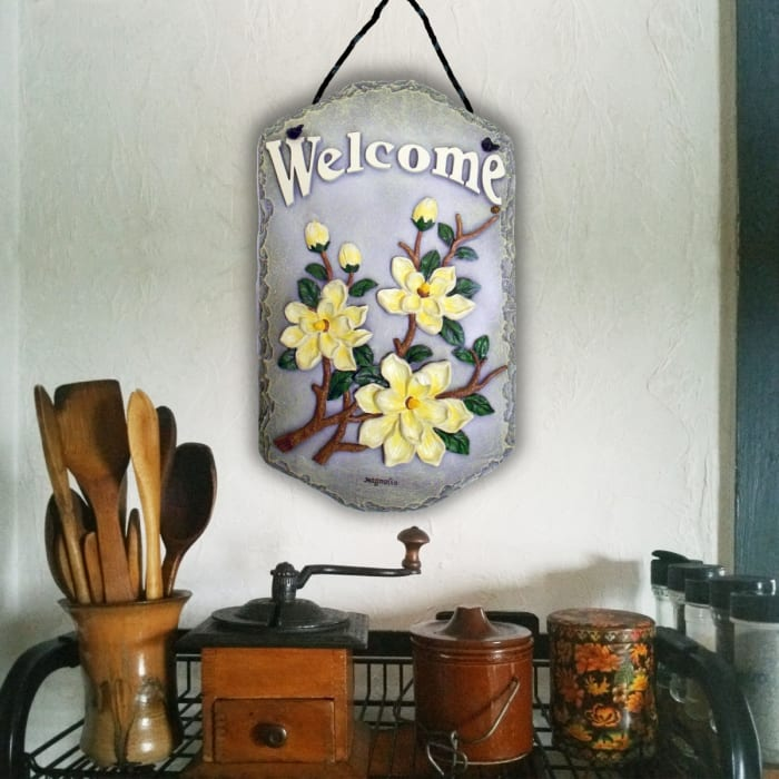 Welcome Sign Magnolia Wall Decor