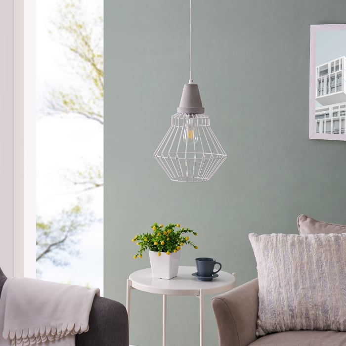 Kayleigh White Cage Pendant Lamp