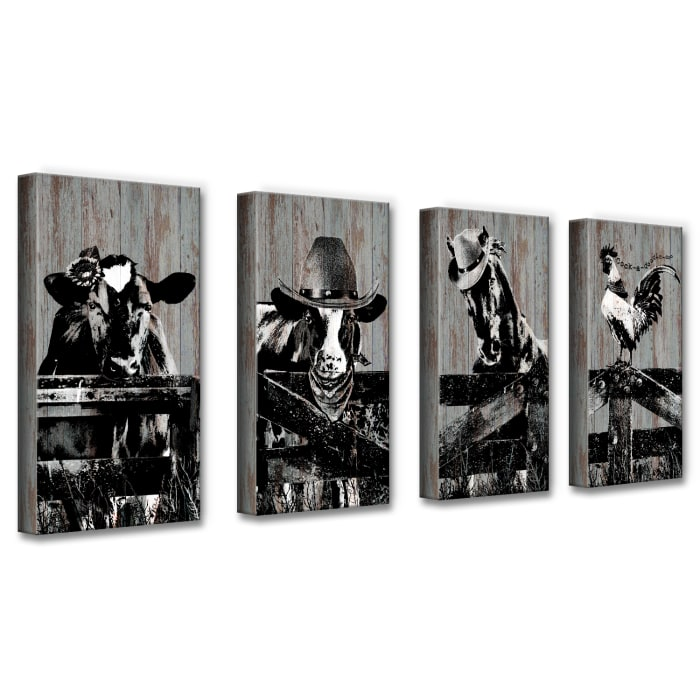 On the Fence Farmhouse Animal 4-Piece Wrapped Canvas Wall Art Set