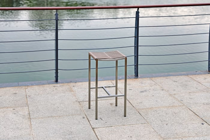 Stainless Steel Square Set of 4 Bar Stools