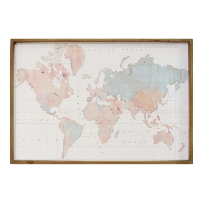 Watercolor World Map Framed Wood Wall Decor