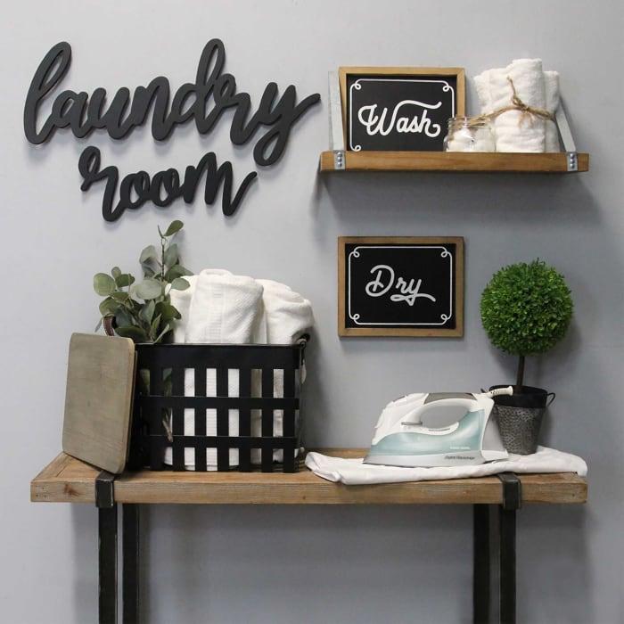 Laundry Room Script Wood Wall Decor